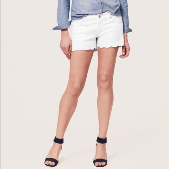 LOFT Pants - LOFT White Scallop Hem Denim Shorts
